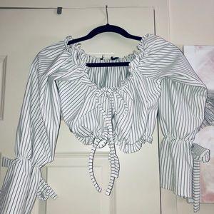 Blue White Stripe OffShoulder TieFront Crop Shirt